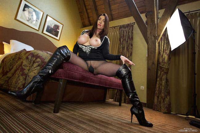 Thigh high boots giantess Miss Hybrid magnificent tits out playing with magic wand.