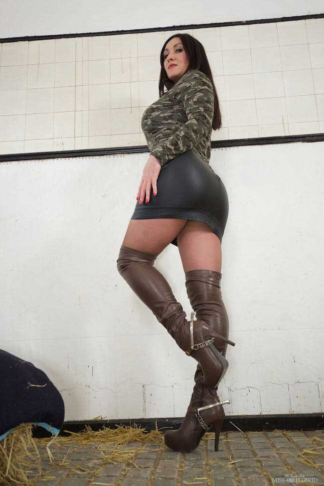 Thigh high leather boots and Sybian ride in the stables.